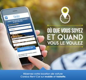 Réservation de location de voiture Corse sur mobile ou tablette